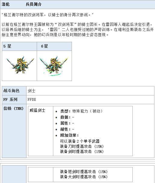 最终幻想勇气启示录洛伦技能分析 最终幻想勇气